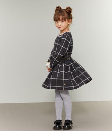 Robe maille à carreaux enfant fille noir City / blanc Multico