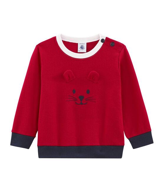 Sweatshirt bébé garçon en maille rouge Terkuit