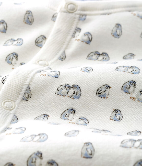 Combisac bébé en côte blanc Marshmallow / bleu Toudou