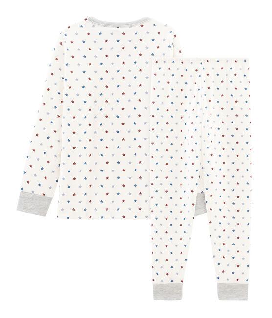 Pyjama petit garçon en tubique blanc Marshmallow / blanc Multico