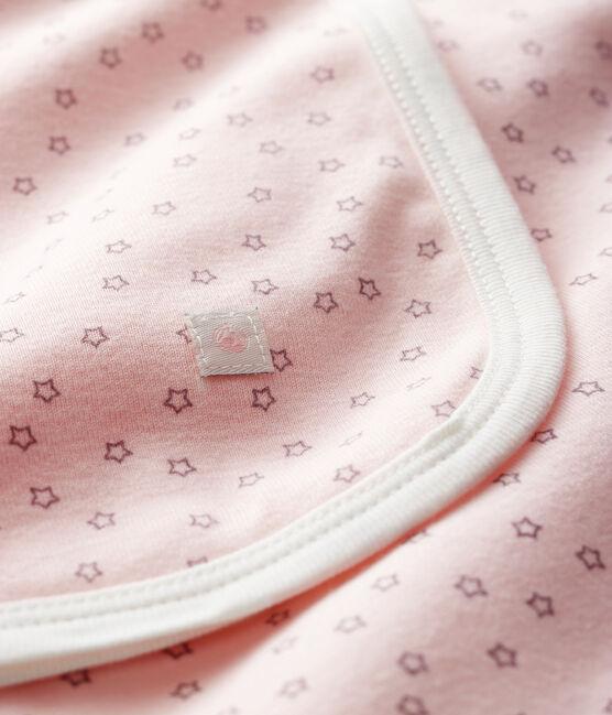 Drap de maternité bébé en côte rose Fleur / gris Concrete