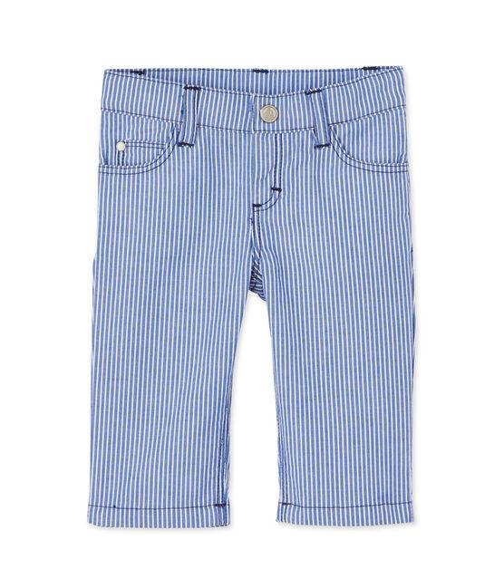Pantalon bébé garçon rayé bleu Surf / blanc Ecume