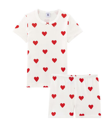Pyjacourt petite fille en côte blanc Marshmallow / rouge Terkuit