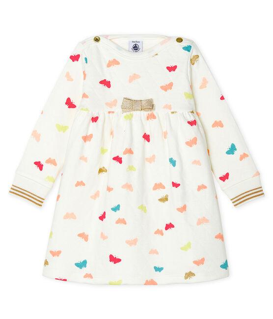 Robe manches longues bébé fille imprimée blanc Marshmallow / blanc Multico