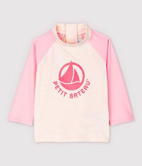 Tee-shirt anti-UV écoresponsable bébé fille/garçon rose Minois / blanc Marshmallow
