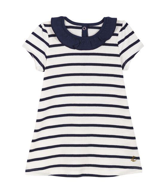 Blouse manches courtes bébé fille blanc Marshmallow / bleu Smoking Cn
