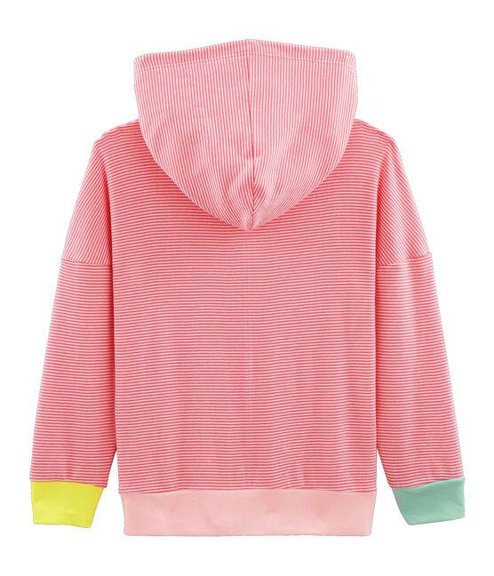 Sweat à capuche enfant en côte rose Cupcake / blanc Marshmallow