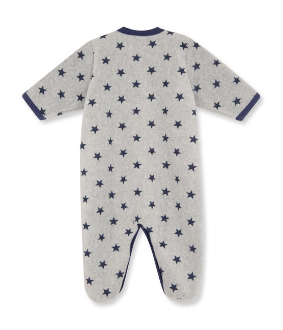 Combichaud bébé garçon en polaire imprimé gris Subway / bleu Logo