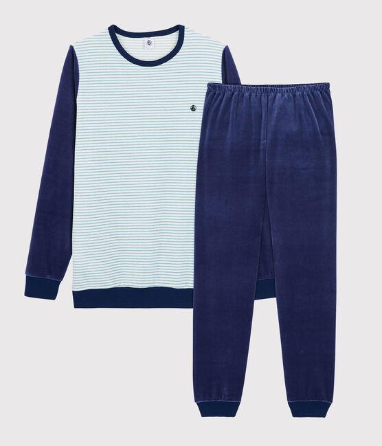 Pyjama à rayures garçon en velours bleu Medieval / blanc Multico