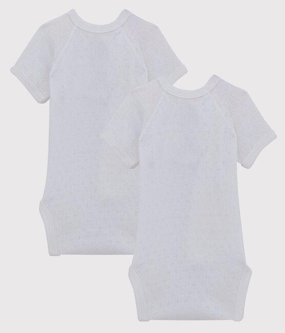 Lot de 2 bodies croisés troutrou blancs manches courtes bébé en coton biologique lot .