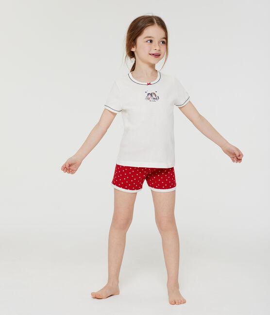 Pyjacourt en côte petite fille rouge Terkuit / blanc Marshmallow
