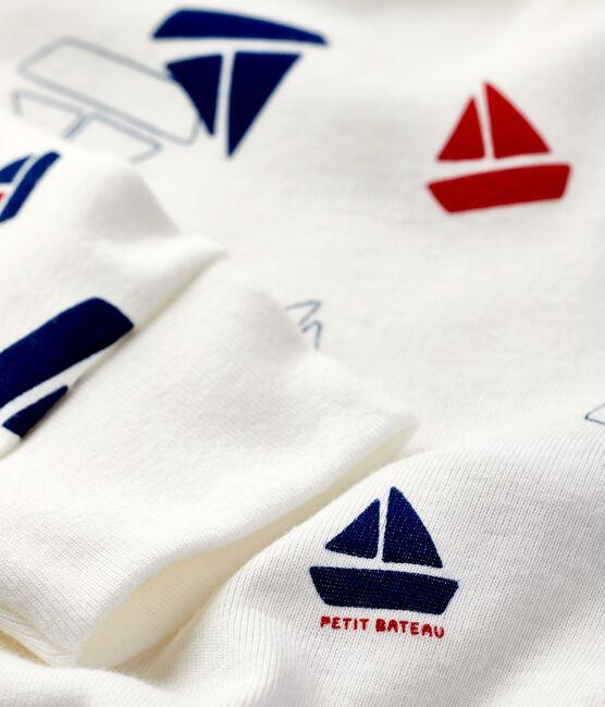 Dors-bien sans pression imprimé bateaux bébé en côte blanc Marshmallow / blanc Multico