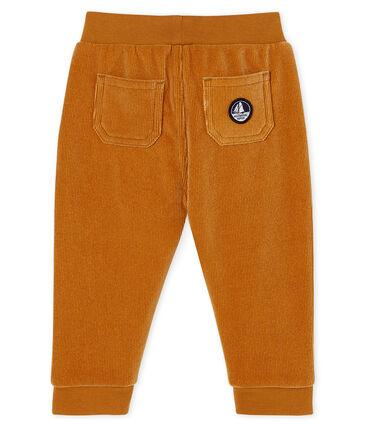 Pantalon bébé garçon en maille velours côtelé marron Cuivre