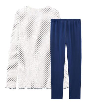 Pyjama fille en côte bleu Medieval / blanc Multico