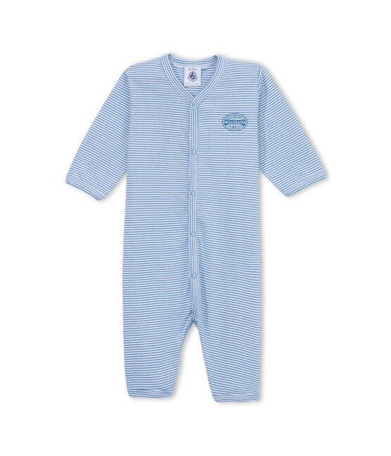 Dors bien bébé garçon sans pieds rayé milleraies bleu Alaska / blanc Ecume