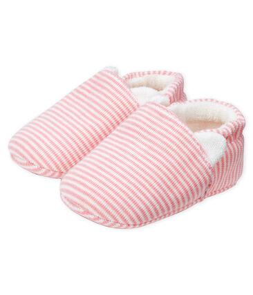 Chaussons bébé en côte rose Charme / blanc Marshmallow