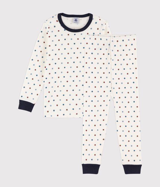 Pyjama petit garçon imprimé bateaux en côte blanc Marshmallow / blanc Multico