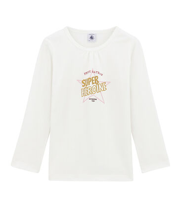 tee-shirt manches longues petite fille blanc Marshmallow