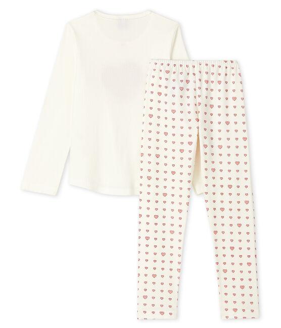 Pyjama cœur rouge petite fille en côte blanc Marshmallow / blanc Multico