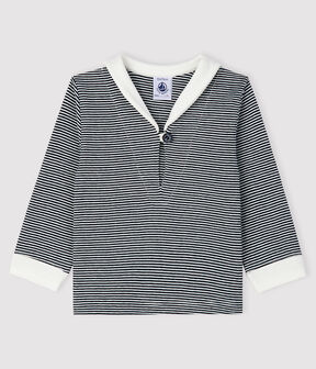 Tee-shirt milleraies bébé garçon bleu Smoking / blanc Marshmallow