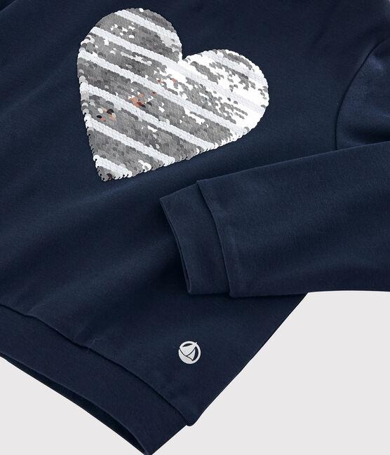 Tee-shirt à capuche enfant fille bleu Smoking
