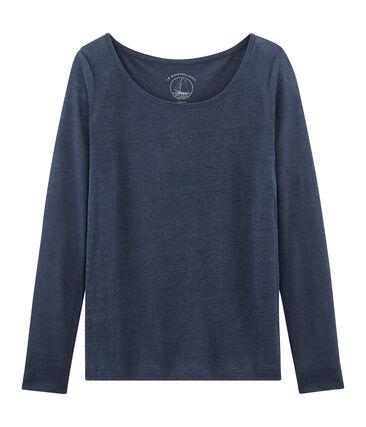 Tee-shirt manches longues femme en lin bleu Haddock