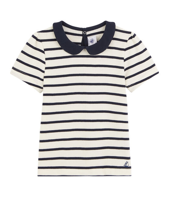 Tee shirt manches courtes enfant fille beige Coquille / bleu Abysse