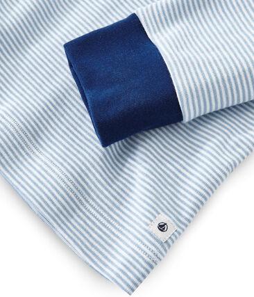Pyjama garçon en côte bleu Acier / blanc Marshmallow