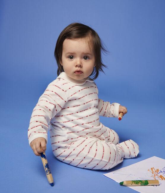 Dors-bien Petit Bateau Je T'aime bébé fille en jacquard blanc Marshmallow / rouge Terkuit