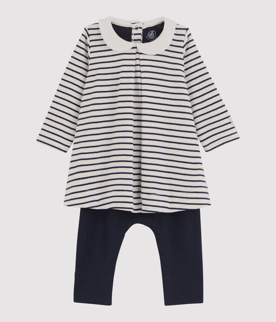 Robe legging bébé fille blanc Marshmallow / bleu Smoking