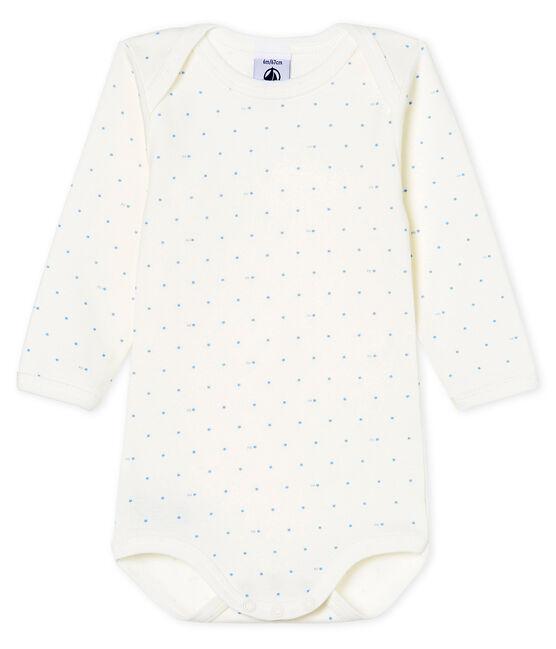 Body manches longues bébé garçon blanc Marshmallow / bleu Acier