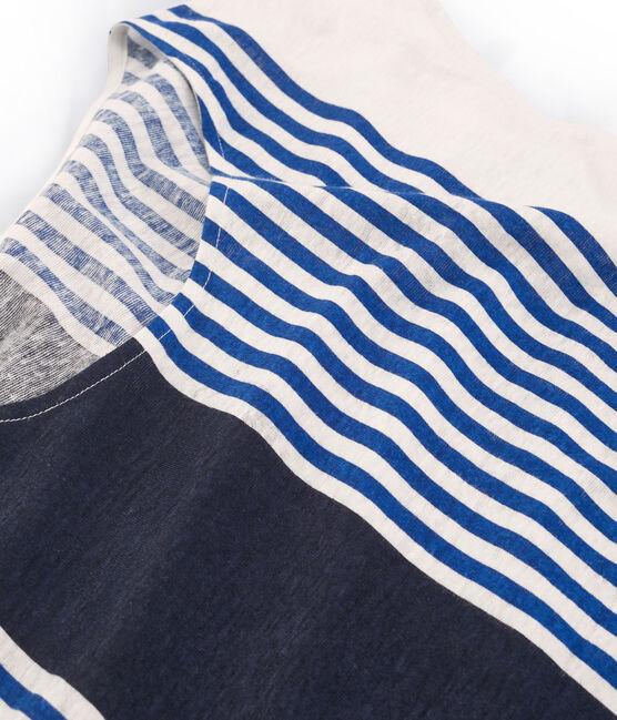 Tee-shirt manches courtes femme en lin blanc Marshmallow / blanc Multico Cn