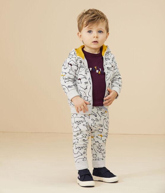 Sweatshirt à capuche bébé garçon gris Beluga / blanc Multico