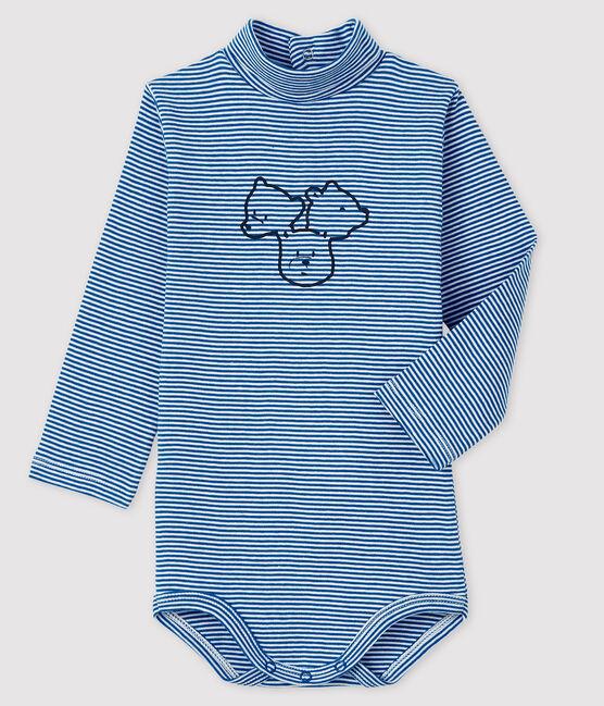Body manches longues col roulé bébé bleu Ruisseau / blanc Marshmallow