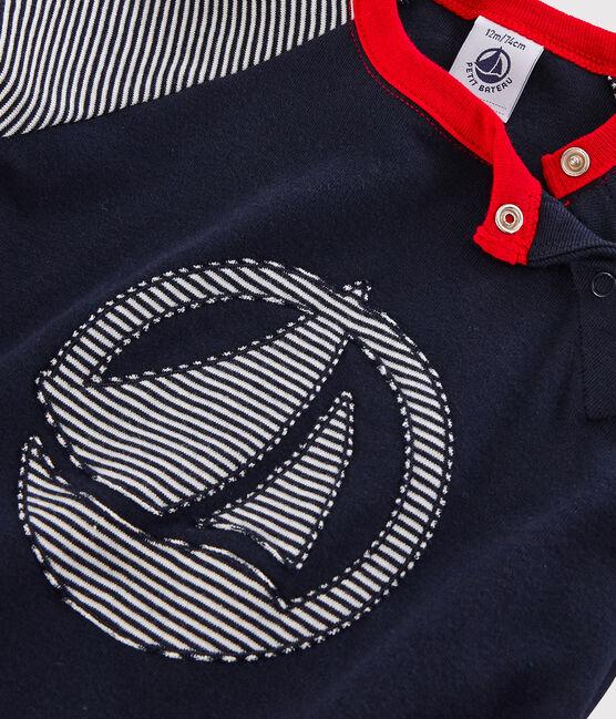 Tee-shirt colorblock bébé garçon bleu Smoking / blanc Marshmallow