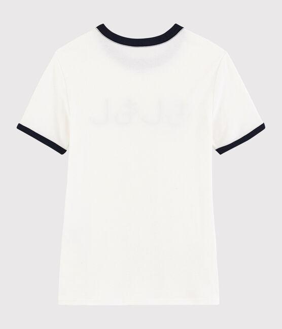 T-shirt imprimé Bonjour Femme blanc Marshmallow / bleu Smoking