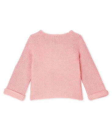 Cardigan laine et coton point mousse bébé fille rose Charme
