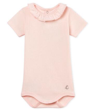 Body manches courtes avec collerette bébé fille rose Fleur