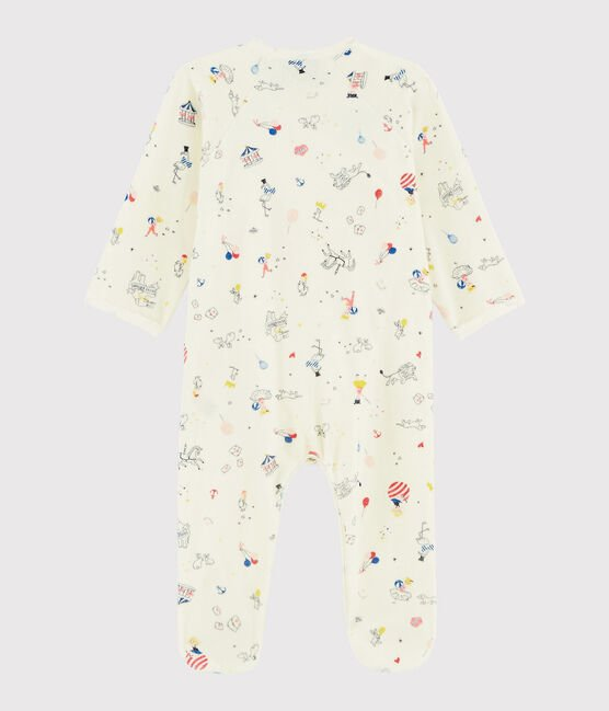 Dors-bien à imprimé carrousel bébé fille en velours blanc Marshmallow / blanc Multico
