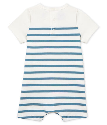 Combicourt bébé garçon manches courtes blanc Marshmallow / bleu Fontaine