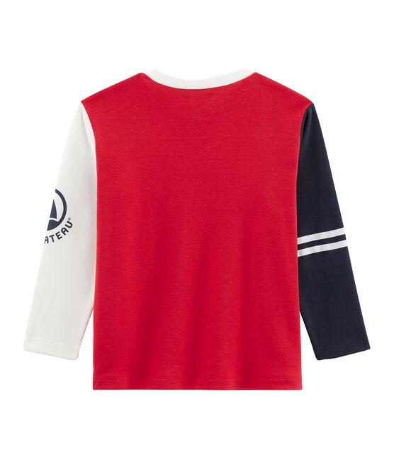 Tee shirt manches longues enfant garçon rouge Terkuit / blanc Multico
