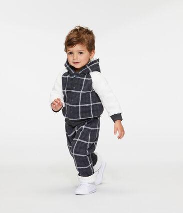 Sweatshirt à capuche bébé garçon en maille à carreaux et sherpa moutonnée