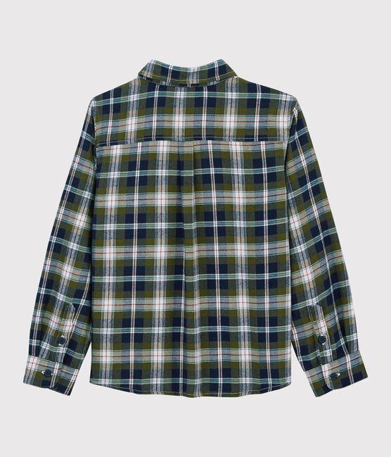 Chemise à carreaux enfant garçon bleu Smoking / blanc Multico