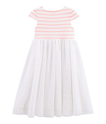 Robe manches courtes enfant fille. blanc Marshmallow / rose Patience