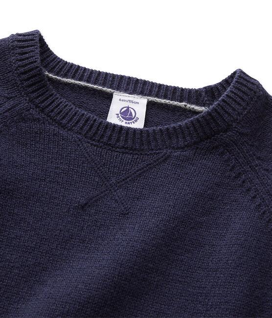 Pull garçon en laine et coton bleu Smoking
