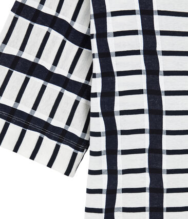 Tee-shirt kimono pour femme blanc Marshmallow / bleu Smoking