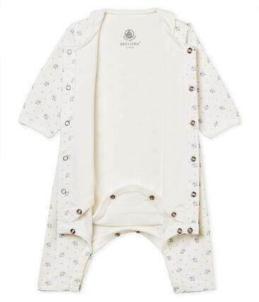 Bodyjama sans pieds bébé garçon en côte 1x1 imprimée blanc Marshmallow / blanc Multico