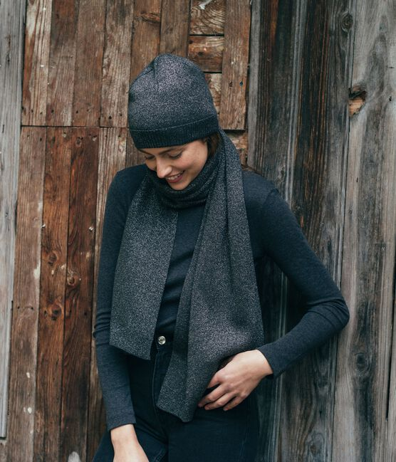 Bonnet brillant femme noir City / gris Argent