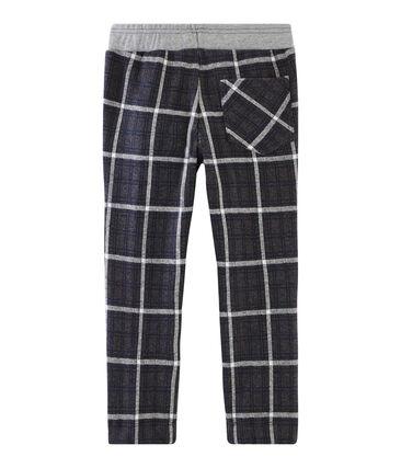 Pantalon maille à carreaux enfant garçon noir City / bleu Smoking