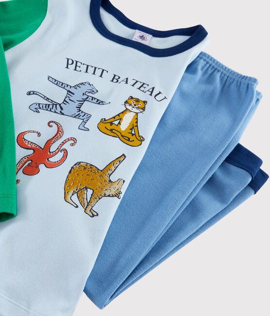 Pyjama animaux yoga petit garçon en côte bleu Alaska / blanc Multico